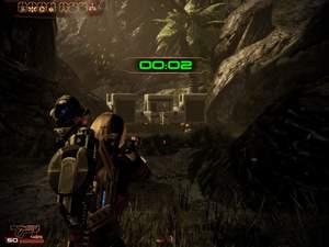 Mass Effect 2 : Um die Kisten wegzuräumen, müssen Sie den inaktiven Mech davor zur Explosion bringen.