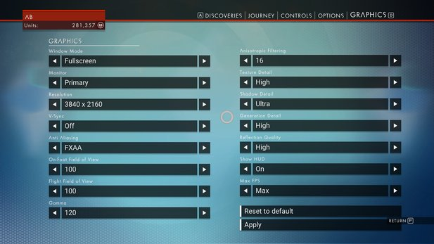 No Man's Sky - Screenshots der Grafikeinstellungen in der PC-Version.