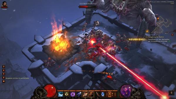 Diablo 3 - Komplettlösung : Auf den Wehrwällen sollen wir fünf Signalfeuer entzünden.