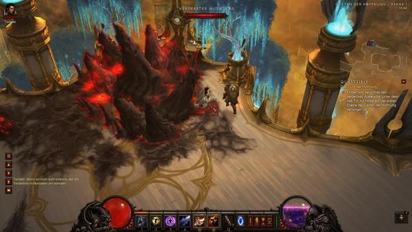 Diablo 3 - Komplettlösung : Der Verderbte Auswuchs steht uns im Weg.