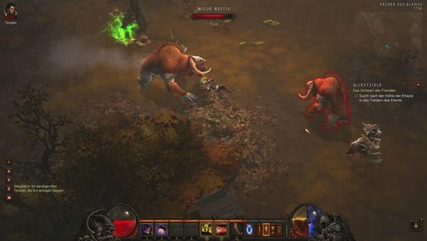 Diablo 3 - Komplettlösung : Die Haupt-Bewohner der Felder: Wilde Bestien und Ziegenmenschen.