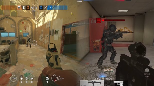On the left you can see Rainbow Six: Siege. On the right is the Area F2 mobile game.