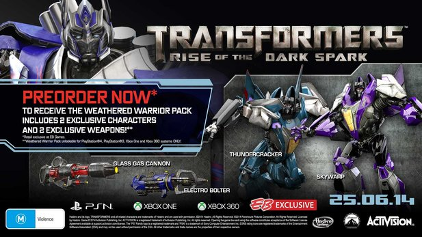 Vorbesteller von Transformers: Rise of the Dark Spark erhalten den DLC »Weathered Warrior Pack« als Bonus.