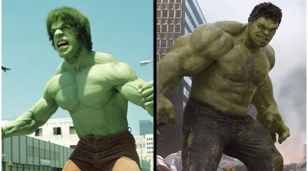 <b>Hulk</b></br> Lou Ferrigno in Der unglaubliche Hulk (1978 bis 1982) und Mark Ruffalo in Marvel's The Avengers (2012).</br> © Koch Media / Marvel