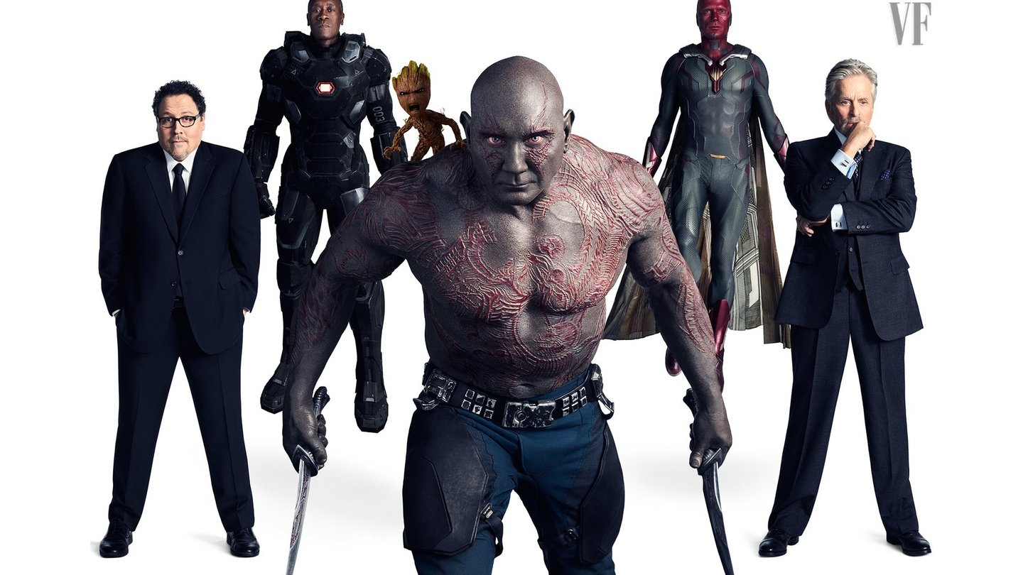 Avengers: Infinity War - Jon Favreau als Happy Hogan, Don Cheadle als War Machine, Vin Diesel als Groot, Dave Bautista als Drax, Paul Bettany als Vision und Michael Douglas als Dr. Hank Pym. (c) Vanity Fair