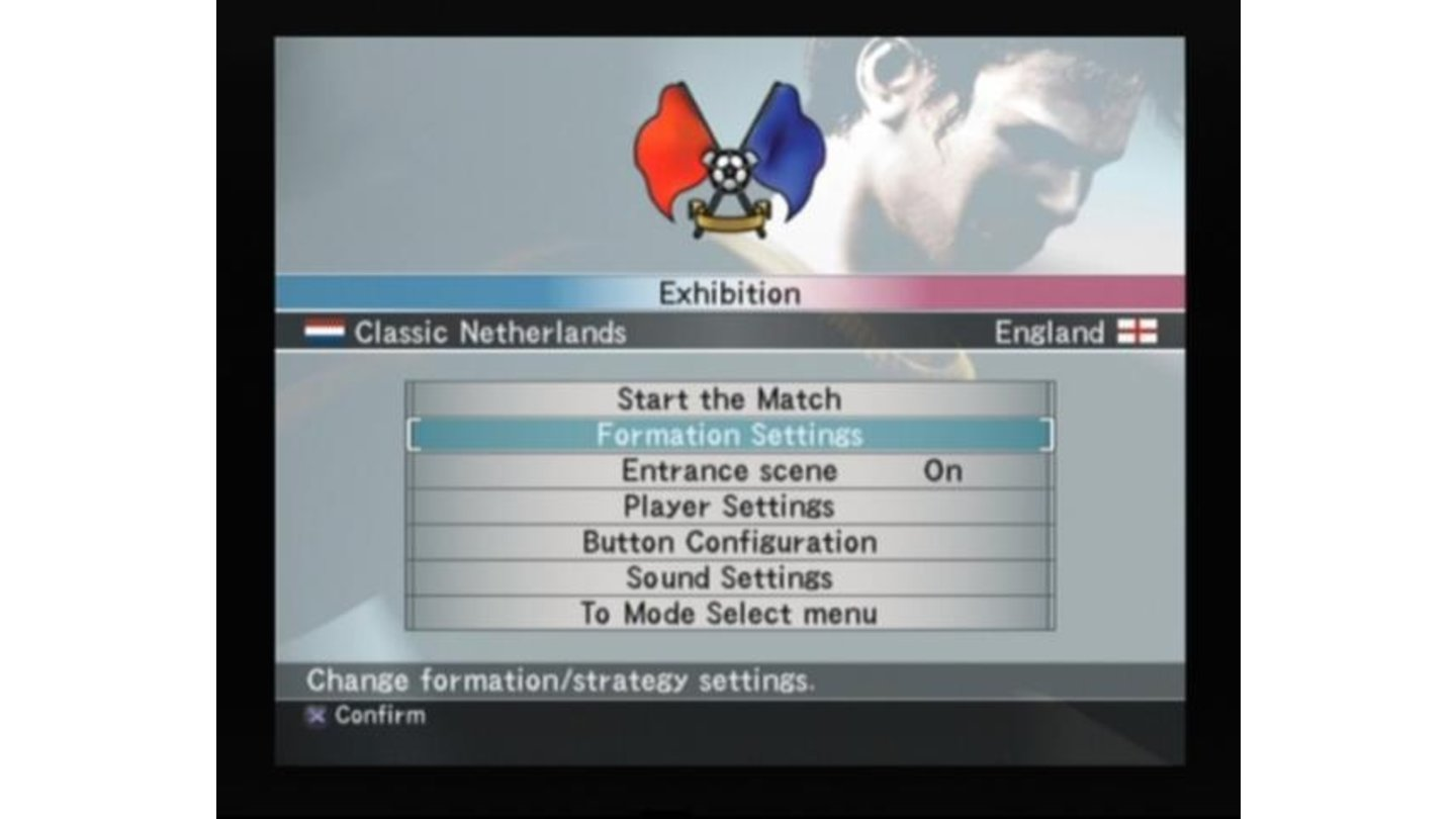 Main menu prior to the match