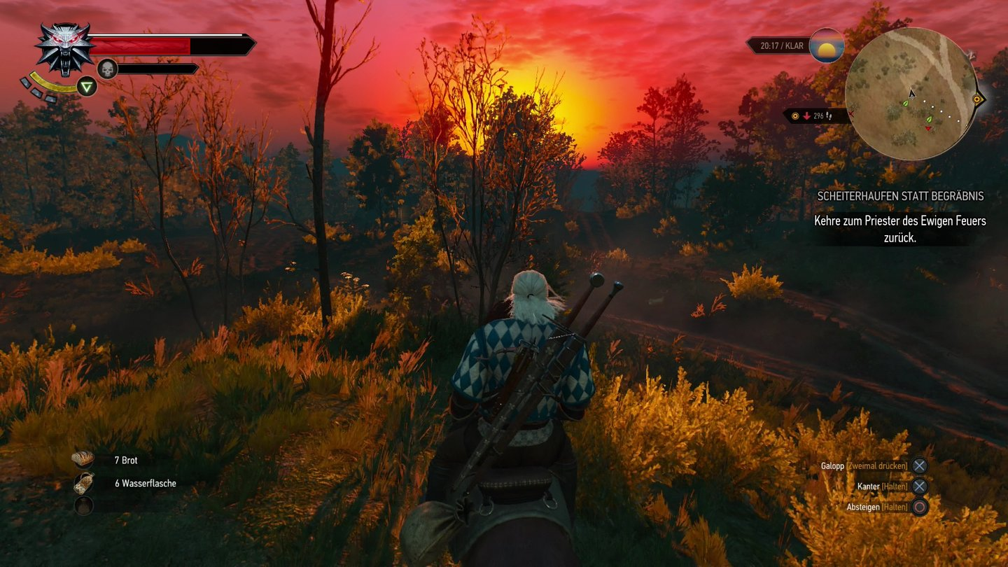 The Witcher 3: Wild HuntHexer-Romantik pur: Wir reiten in den Sonnenuntergang.