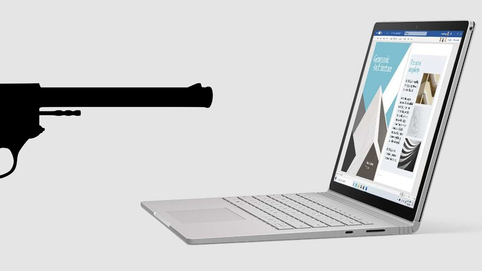 Surface Book versus Pistole.