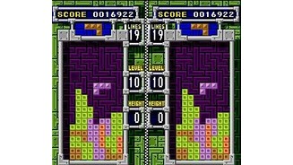 Mixed Match game 1: clearing a predetermined number of lines in Tetris B-TYPE.