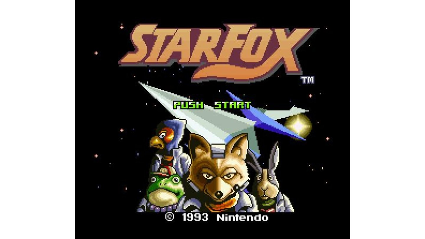 The title screen of the US version, showing the four heroes.
